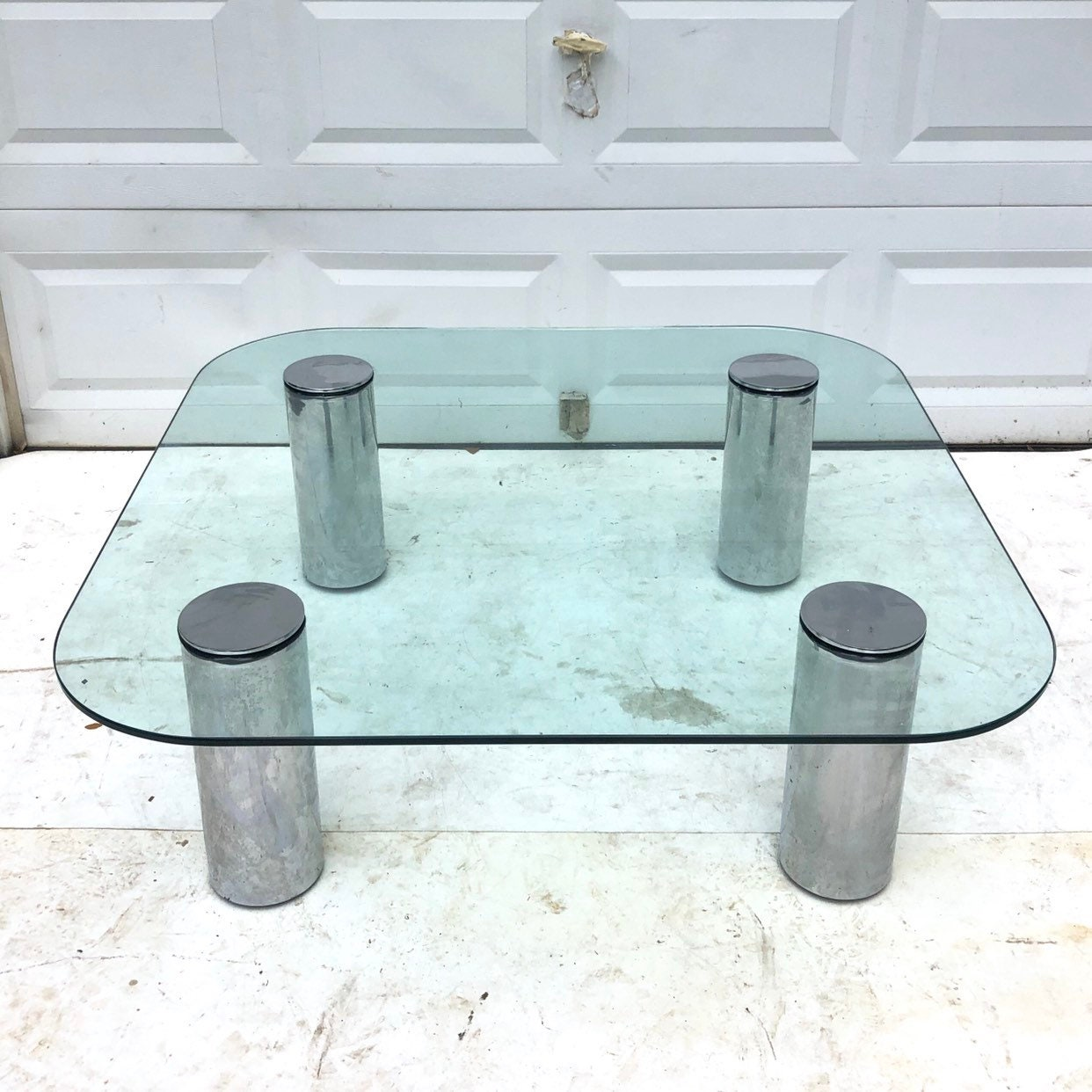 Mid Century Chrome And Glass Coffee Table Attributed To Pace Collection