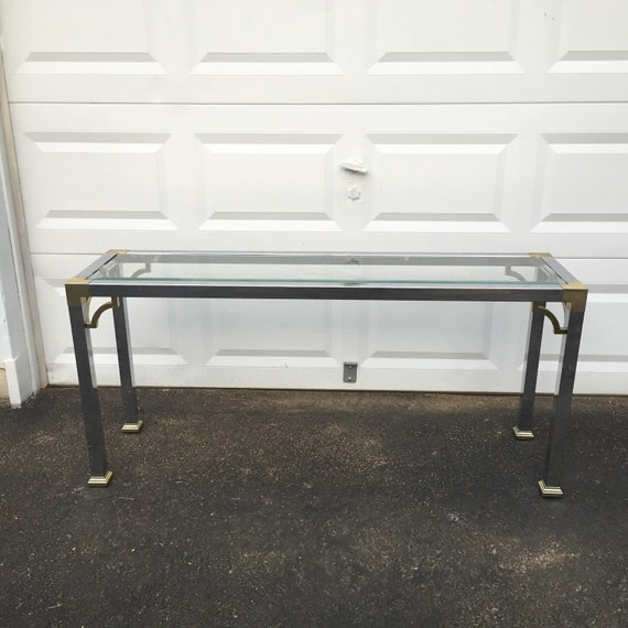 Mid Century Modern Chrome And Glass Sofa Table Etsy