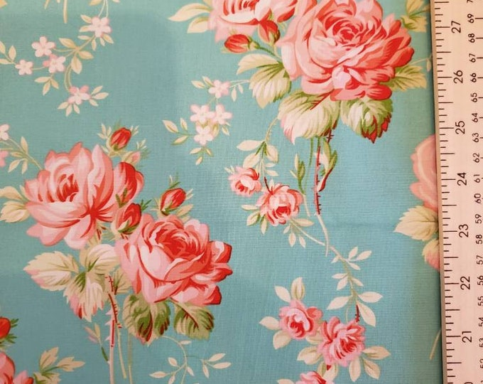 Beautiful Rose's on Turquoise Green 100% Cotton Fabric BTY