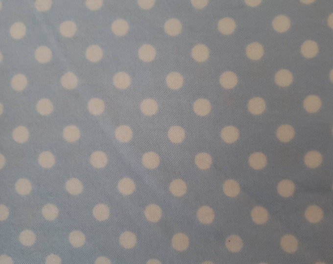 Baby Blue with White Polka Dot Flannel Fabric