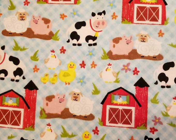 Farm & Animals Old Mac Donald had a Farm Flannel Fabric BTY