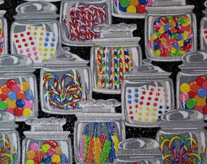 Candy Jars 100% Cotton Fabric BTY