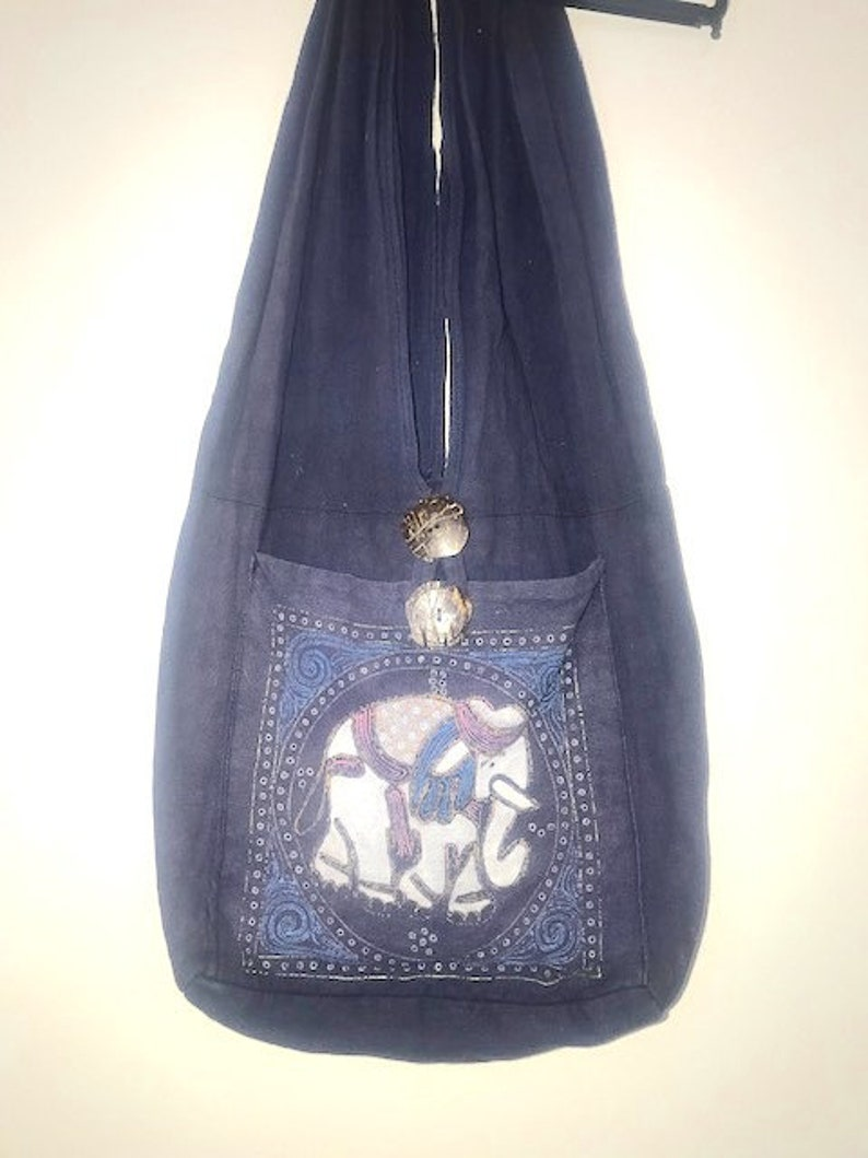 Navy Cloth Bag Book Bag or Tote with Elephant Design Navy Shoulder Tote Elephant Motif  Shoulder Bag Navy Book Sack Shoulder Cloth Bag
