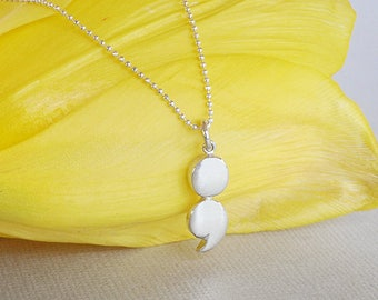 Sterling Silver Semicolon Necklace, Semicolon Pendant, Mental Health, Resilient Necklace, Mental Health Awareness,  Polished Semi Colon