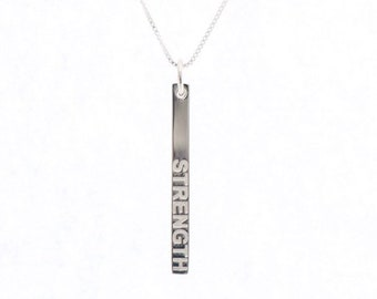 Sterling Silver Strength Bar Necklace, Strength Pendant, Bar Pendant, Resilient Necklace, Polished Strength Pendant, Strength, Word Pendant