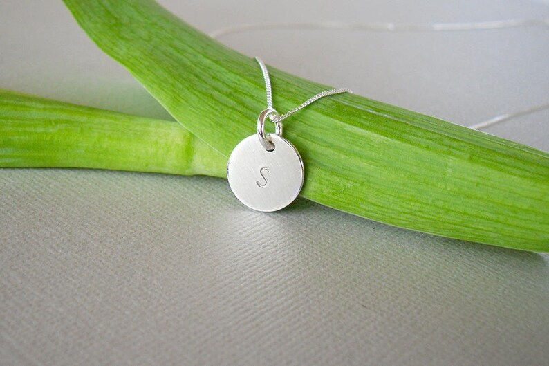 Stamped Letter Necklace Initial Pendant Initial Necklace Letter ...