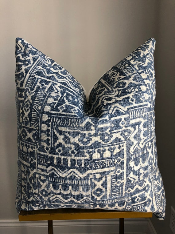 Blue Gray Geometric Pillow Cover