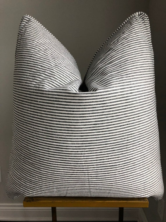 Black and White Skinny Stripe Piped Pillow Cover
