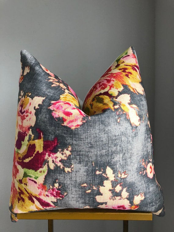 Gray Modern Floral Pillow Cover