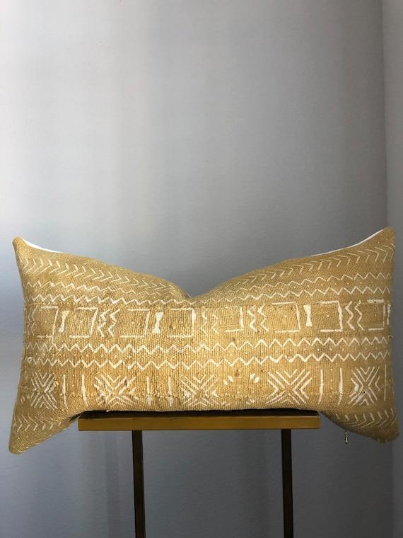 Authentic Mustard Mudcloth Lumbar Pillow Cover