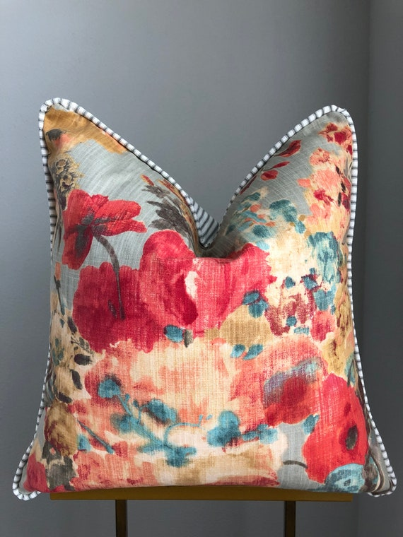 Floral and Ticking Reversible Piped Pillow Cover