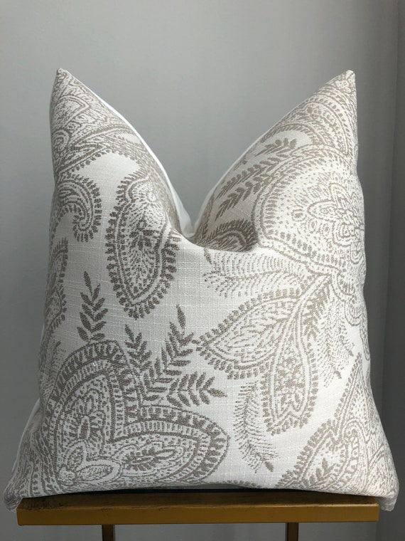 Lighter Paisley Print Neutral Pillow Cover