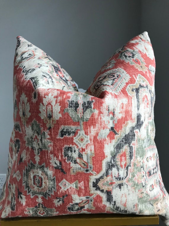 Henna Red Ikat Print Pillow Cover