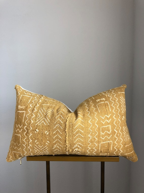 Authentic Mustard Mudcloth Pillow Cover