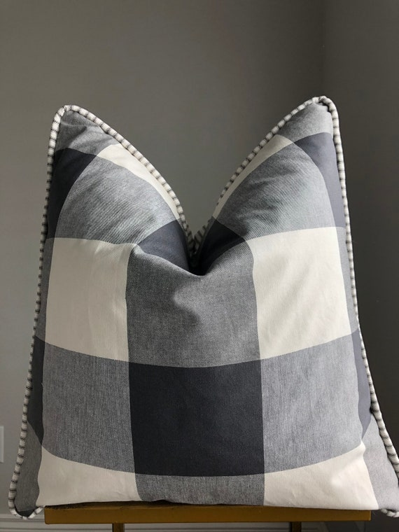 Large Print Buffalo Check and Ticking Reversible Piped Pillow Cover
