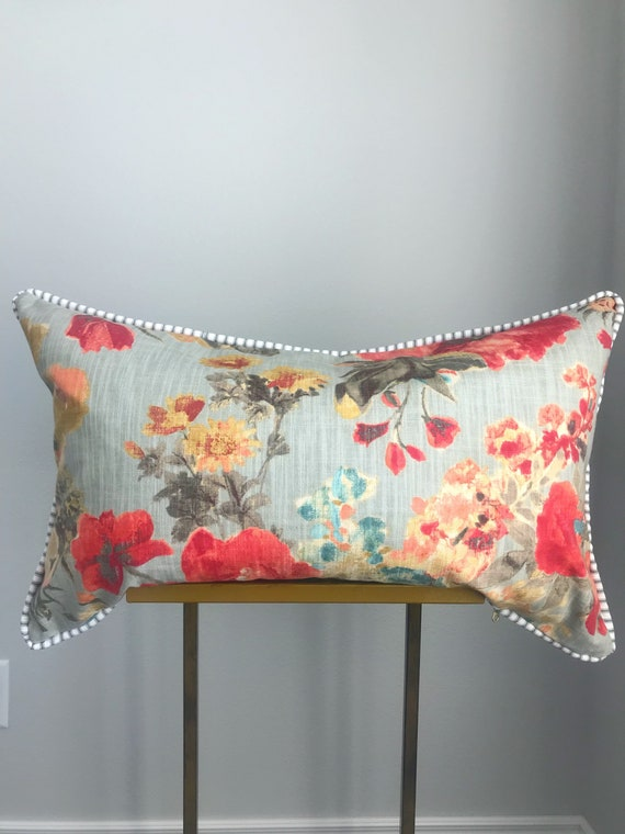Piped Floral Lumbar with Ticking Pillow cover