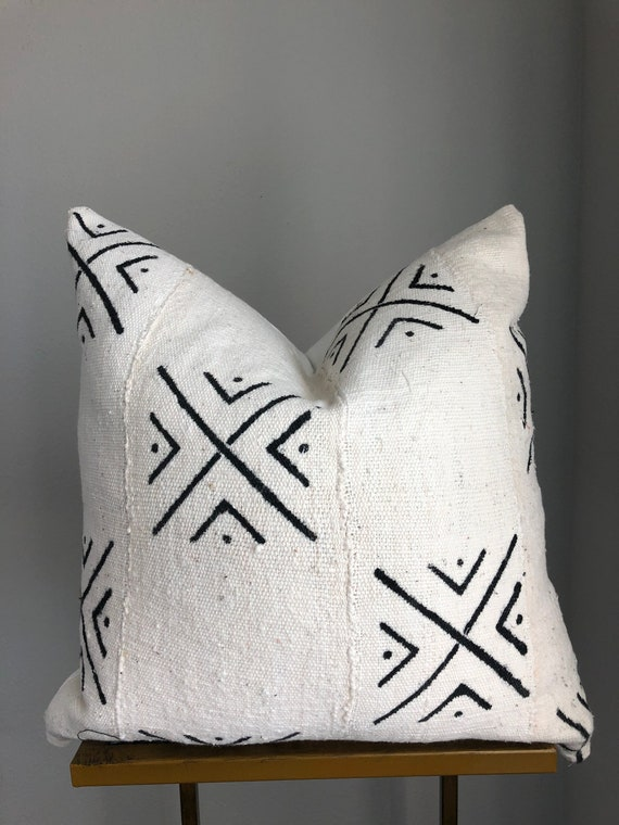 Authentic White with Black Mudcloth Pillow Cover