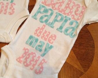 Baby announcement appliqued onesie
