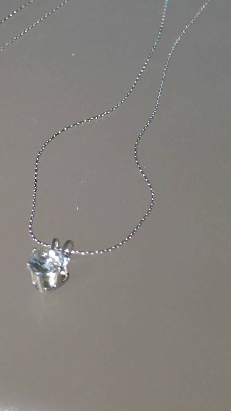 Heart Aquamarine Pendant Solitaire 0.60ct with Chain Necklace Sterling Silver