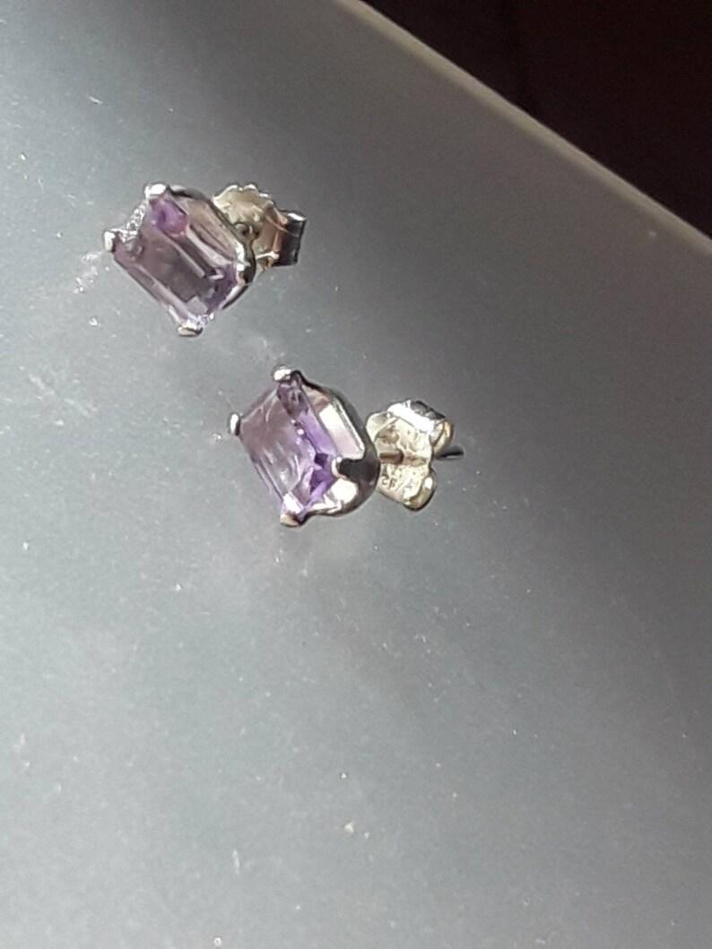 Emerald Cut Ametyhst Stud Earrings Sterling Silver