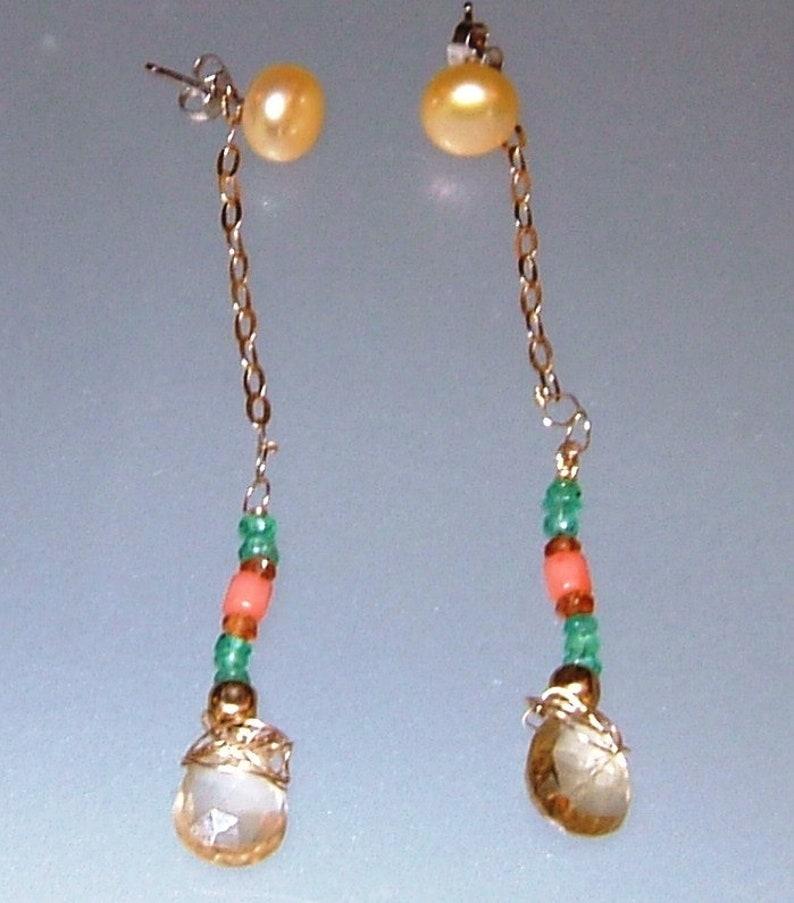 24f9bb06c Gold Earring Jacket Emerald Spessartite Garnet Coral Bead | Etsy
