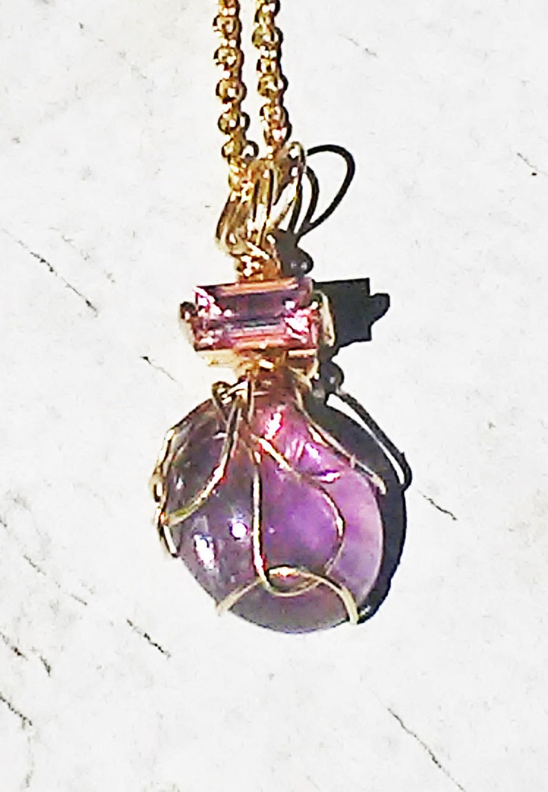 14kt Gold Amethyst Baguette Pink Sapphire Pendant 2.18ct Yellow Gold One of a Kind Handmade