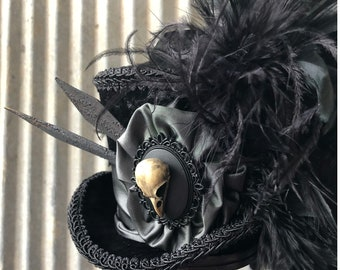 92ad767463101d Mini Top hat, Poe Hat, Black Raven Mini Top Hat, Halloween Hat, Crow Skull  Hat, Victorian Black Hat, Alice in Wonderland Hat
