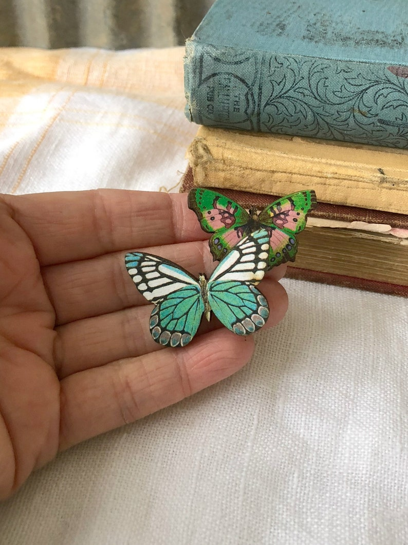 Bridal gift Butterfly Brooch Mad TEa Party Christmas gift Tea Party Pin Wooden pin Birthday Gift Butterfly pin Alice in Wonderland