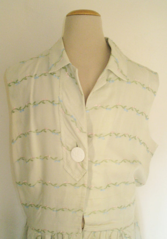 dress 1950s green pastel embroidered linen cotton day wT6xOqB
