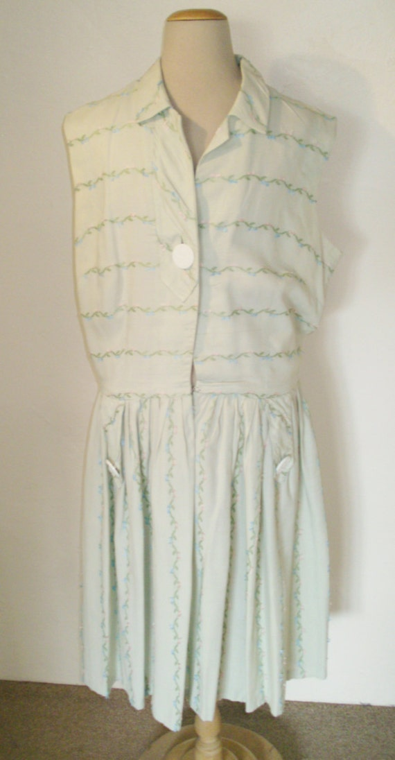 cotton 1950s linen pastel embroidered green dress day wtRgqtr