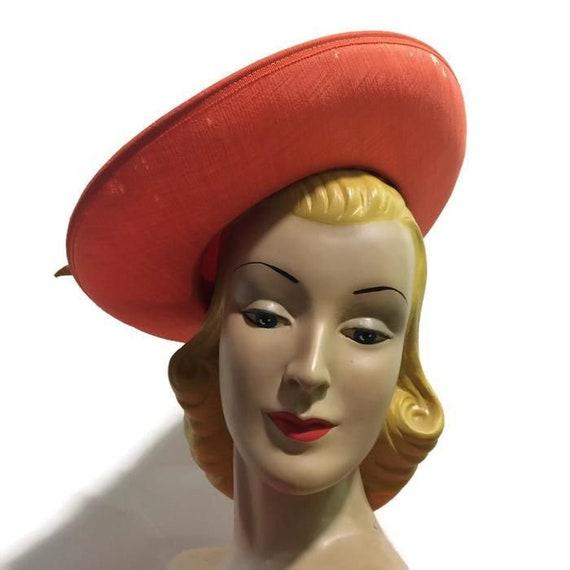 1940s Hat ,   original 1940s Orange hat   40s halo