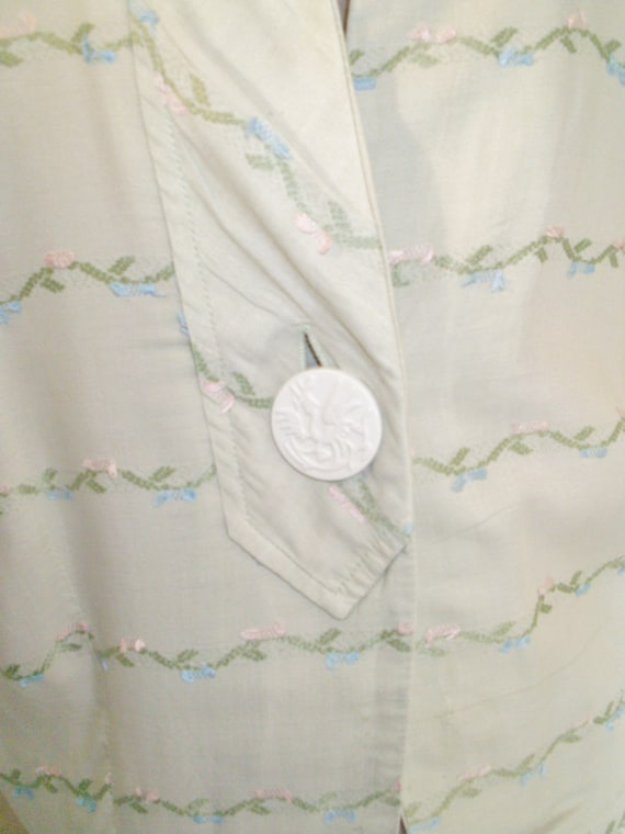 dress cotton embroidered day linen 1950s pastel green 1qwUnFp