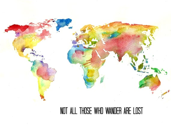 Watercolor world map art print tolkien quote illustration etsy image 0 gumiabroncs Images