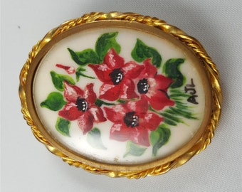 St. Martial Hand Painted Flower Brooch
