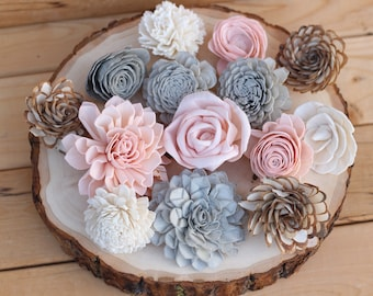 Sola Wood Flower Assortment 30 SET Pink Gray Flowers Almond Party Cake Table Bouquet Diy Crafts