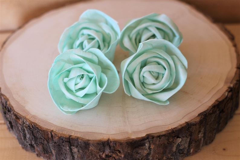 Set of 12 Mint Premium Sola Wood Flowers