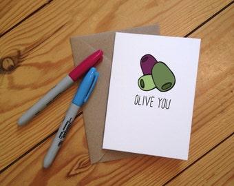 Olive You Illustrated Greetings Card