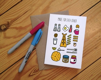 Made for Each Other Illustrated Greetings Card