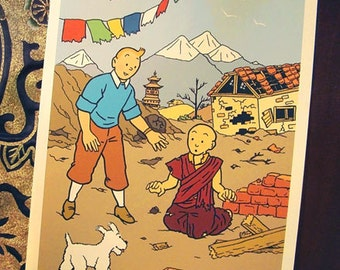 DONATE to UNICEF: Tintin in Nepal, comic-themed print in support of earthquake appeal