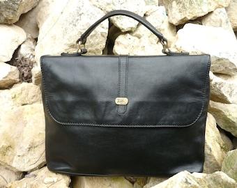 French black leather Texier handbag