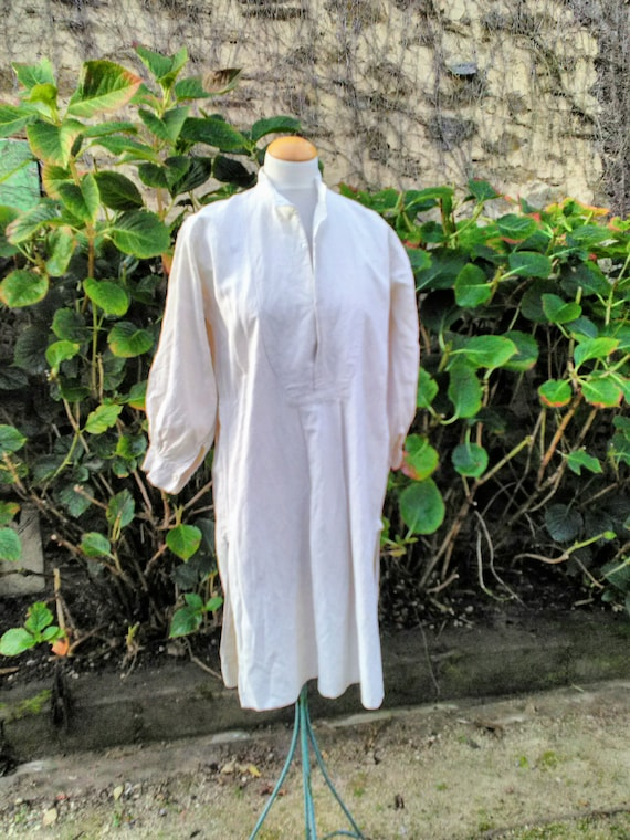 French heavy linen rustic shirt, smock.