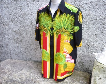 Japanese polyester eighties ladies blouse with crazy 'Florida' art deco design