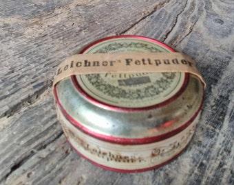 Leichner, Berlin sealed tin of face powder, unopened, unused.