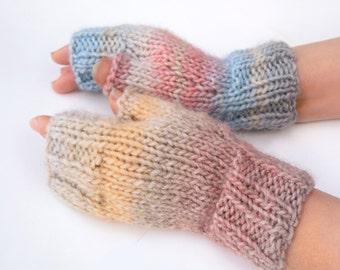 Handmade wool mittens Knitted fingerless gloves Christmas gift