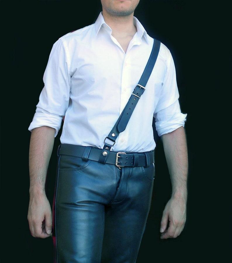 Sam Browne Leather Belt Handmade Military Uniform Steampunk Bluf suspenders