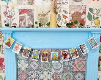 Tarot Card Garland Decoration Vintage Style Magic Divination Fortune Teller Moon Star Lovers Goddess