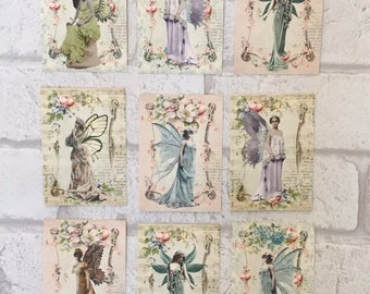 Christmas Fairies A4 Sheet Card Toppers Scrapbooking Embellishments//Card Making