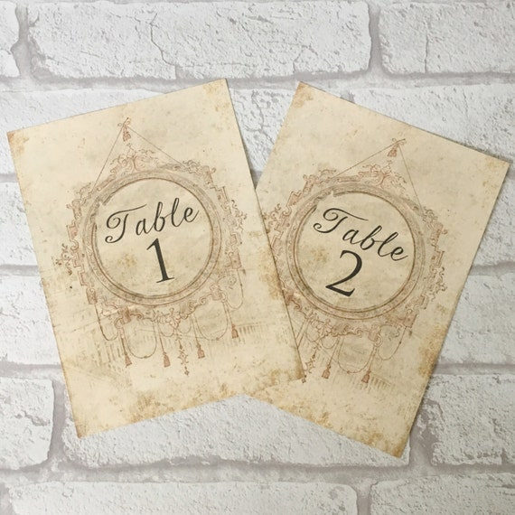 Wedding table number card name cards centrepiece antique etsy image 0 reheart Image collections