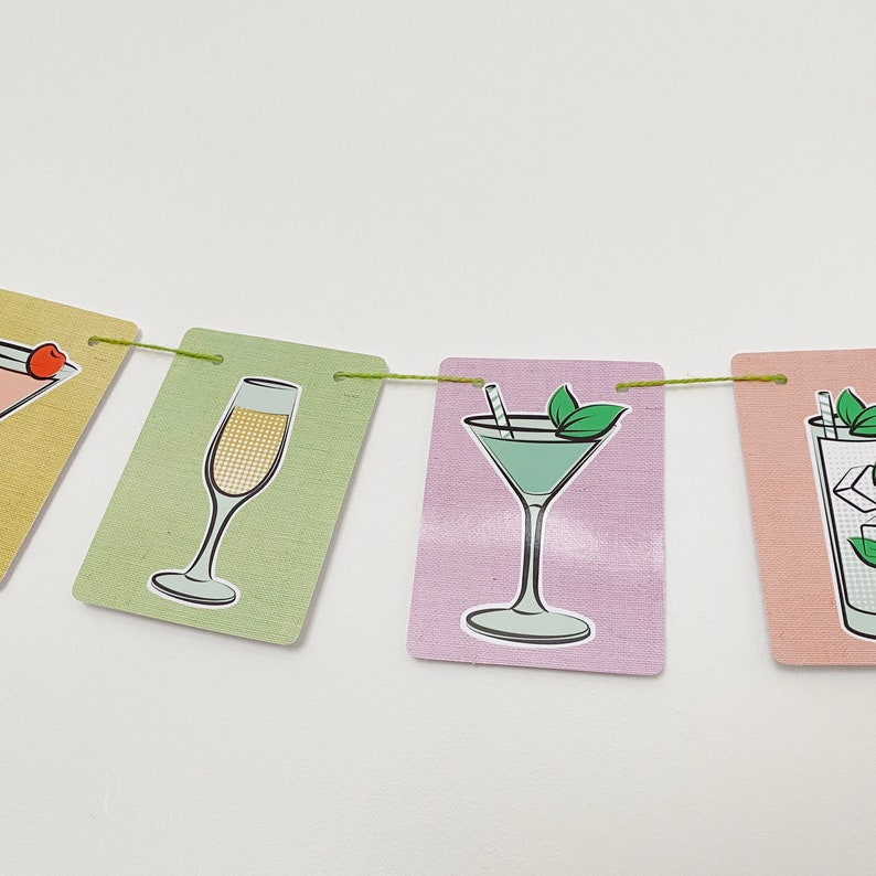 Cocktail Drinks Bar Card Bunting Garland Spring wedding party