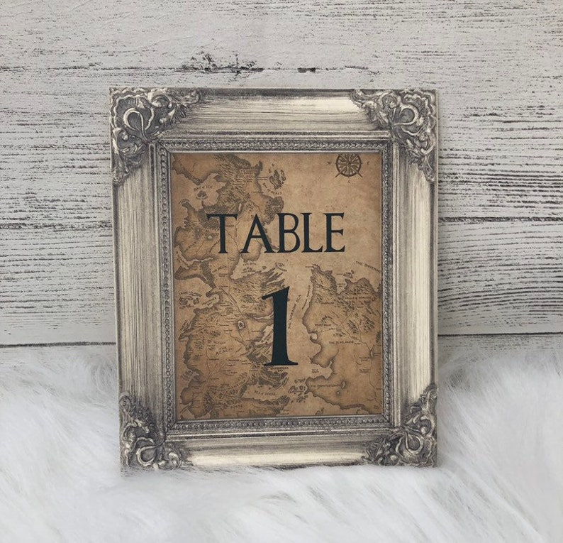 Game Of Thrones  Westeros Map  Wedding Table Number Cards  image 0
